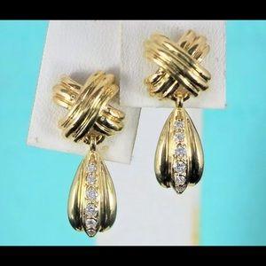 $2950 Tiffany 18K Gold Round X Diamond Earrings